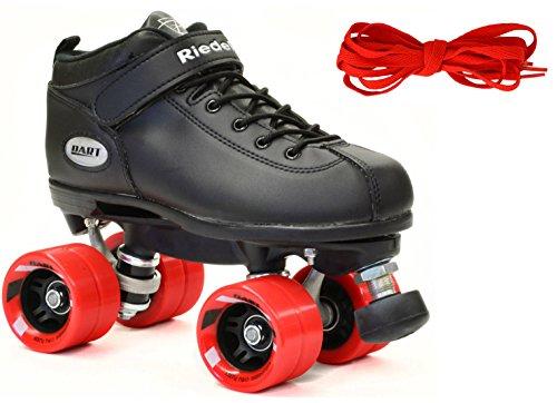 Riedell Black Dart Quad Speed Skates w Red Wheels 2 Pair of Laces Red Black Mens 7  Ladies 8