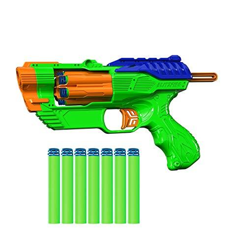 Dart Zone Blitzfire Quickshot Auto-Advance Rotating Cylinder Dart Blaster with 6 Universal Waffle-Tip Darts