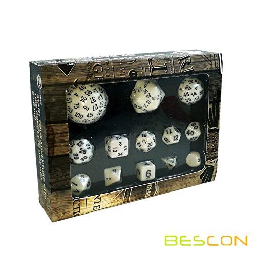 Bescon Complete Polyhedral Dice Set 13pcs D3-D100 100 Sides Dice Set Opaque White
