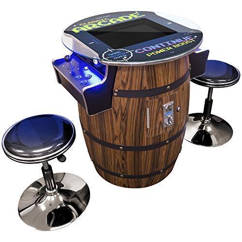 Creative Arcades Full-Size Commercial Grade Wine Barrel Style Pub Arcade Machine  412 Classic Games  2 Sanwa Joysticks  2 Stools  3-Year Warranty  Round Glass Top 412 Games Simulated Woodgrain