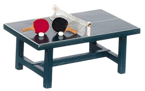 Dollhouse Miniature Ping Pong Table wTwo Paddles Balls by Miniatures World