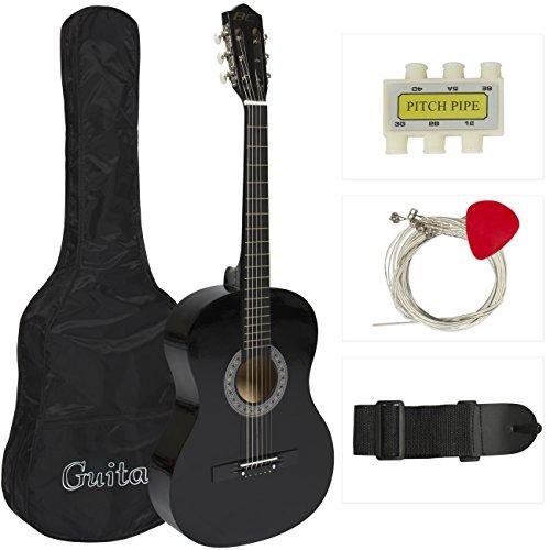 38 Black Acoustic Guitar Starter Package Guitar Gig Bag Strap Pick