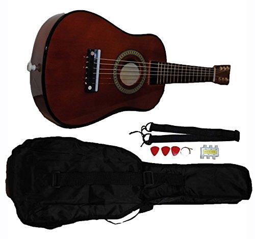 Mini Kids Acoustic Toy Guitar Kit Gig Bag  Picks  Strap  Tuner - Coffee