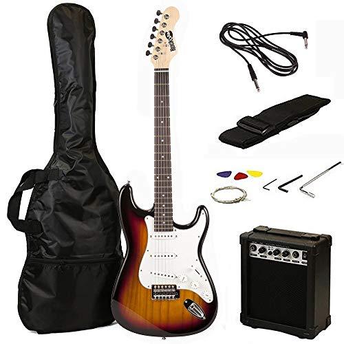 RockJam 6 ST Style Electric Guitar Super Pack with Amp Gig Bag Strings Strap Picks Sunburst RJEG02-SK-SB Renewed