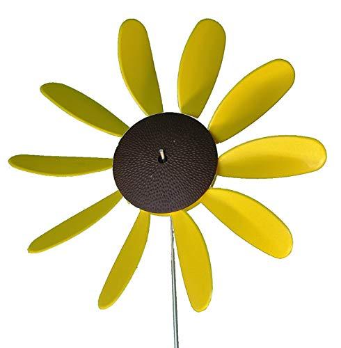 Pack of 6 Beloit Plastics 12 inch Dia Sunflower Lawn Pinwheels Wind Spinners Garden Party Pinwheel Flower Spinner for Patio Lawn Garden American Made