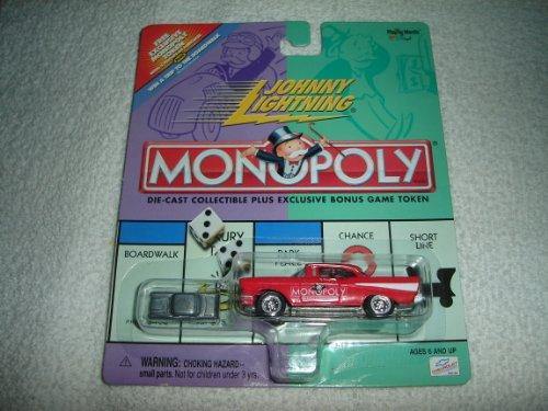 Johnny Lightning - Monopoly - Illinois Avenue - 57 1957 Chevy Replica Red wExclusive Bonus Miniature Metal Game Token