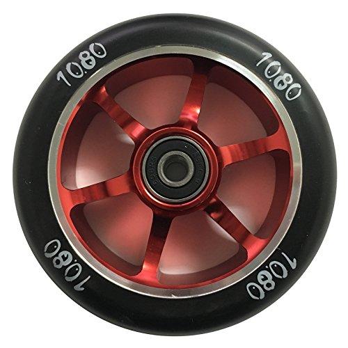 1080 Stunt Scooter Wheel 100mm 6 Spoke Alloy Core - RedBlack