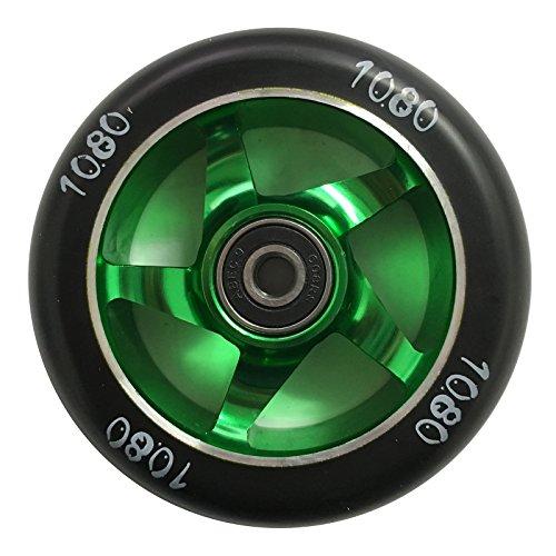 1080 Stunt Scooter Wheel 100mm Ninja Alloy Core - GreenBlack