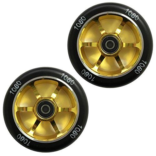 1080 Stunt Scooter Wheels 100mm 6 Spoke Alloy Core Pair - GoldBlack