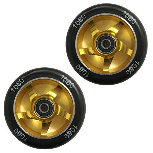 1080 Stunt Scooter Wheels 100mm Ninja Alloy Core Pair - GoldBlack