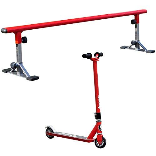 Freshpark World Class Adjustable Grind Rail FRESH Pro Stunt Scooter - Red