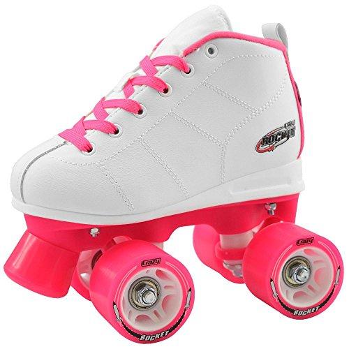 Crazy Skates Rocket Kids Roller Skate White  Pink Eu28 - US j10