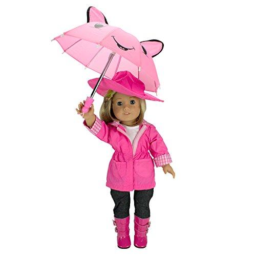 Rain Coat Doll Clothes for American Girl Dolls- Includes Rain Jacket Umbrella Boots Hat Pants and Shirt