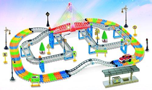 Flash Suspension Bridge Railway Track Racing Road 268-piece Highway Overpass Transportation Building Set by Poco Divo