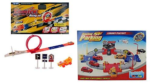 Race Car Toys Bundle TWO PLAYSETS 1 Track Racing Shooter Racing Set with Loop Jump Ramp PLUS 1 Racing Parking Playset