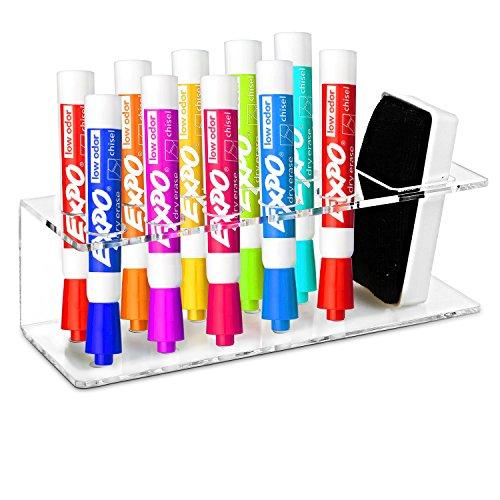 Clear Acrylic Wall Mountable 10 Slot Dry Erase Marker Eraser Holder Organizer Rack - MyGiftÂ