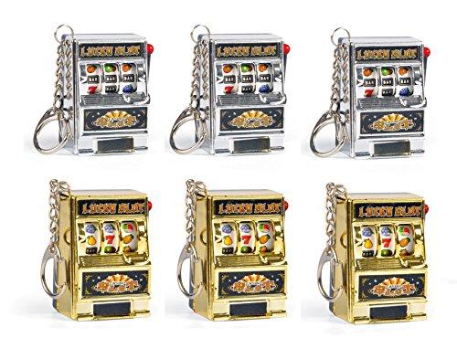 Set of 6 Mini Casino Lucky Slots Jackpot Slot Machine Keychains