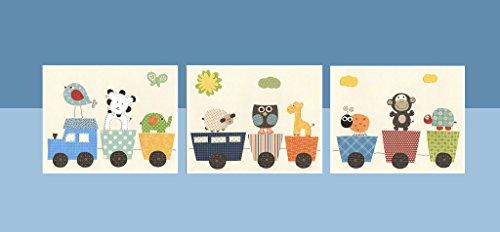 DesignByMaya Baby Animal Nursery Prints Safari Animals Jungle Nursery Choo Choo Train Decor Zoo Art set of 3