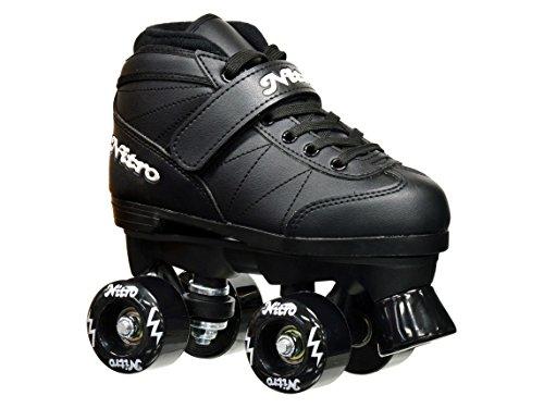 Epic Skates 2016 Epic Nitro Junior IndoorOutdoor Quad Roller Skates Black Size J12