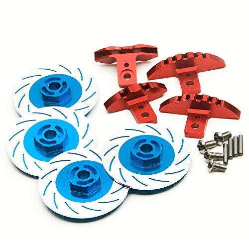 KingModel-CA A Set of Brake Discs and Calipers for 110 Sakura D4 Racing Drift RC Car Blue