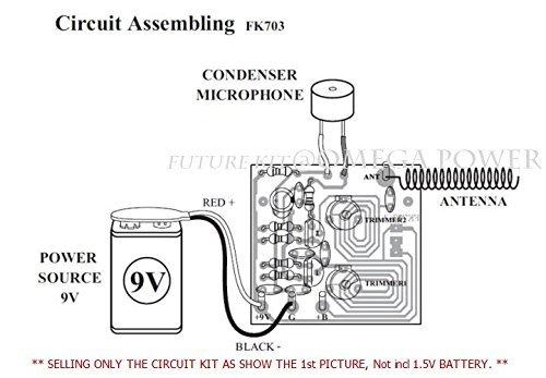 FM WIRELESS MIC 2 STATES 2 Transistor 88Mhz 9VDC Electronic Kit Circuit Board  FA703