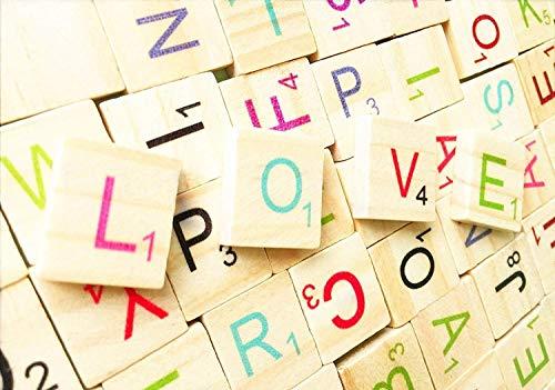 Abbaoww 104 Pcs Multicolor Wood Scrabble Tiles Letter Tiles A-Z Each Four Capital Letters for DIY Crafts Spelling Decoration