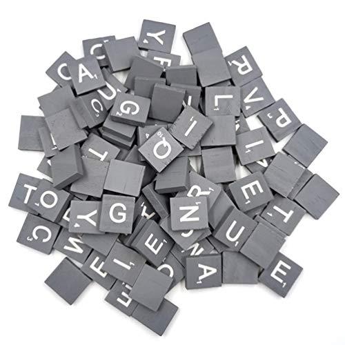 Healifty Wood Letter Tiles Scrabble Tiles Alphabet Capital Letters for Kids DIY Crafts Pendants Spelling Educational Toys Black