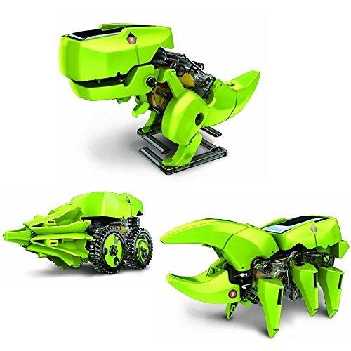 LUCKSTARÂ 4-in-1 Assemble Solar Robot DIY Assemble Educational Dinosaur Model Building Kit for Birthday and Christmas Day Gift