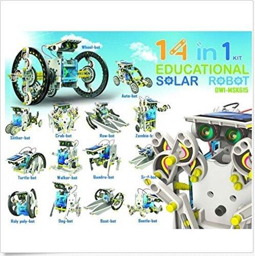 flexible-decor 14 in1 Solar Powered DIY Model Robot Educational Toy Kit Kid Build Your Own Robot