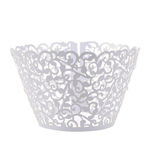 Cosmos 24 Pcs Flower Vine Filigree Cutout Lace Cupcake Wrapper Wraps Liner Wedding Party Cake Decoration White