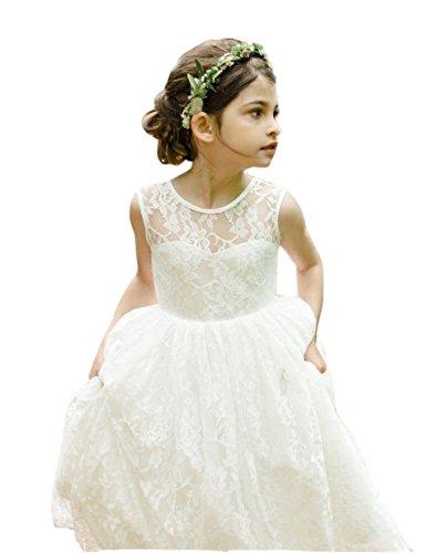 Ikerenwedding Lace Flower Girl Wedding Dress Gorgeous Princess Gown Ivory Age 4