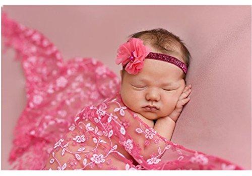 Luxury Newborn Boy Girl Baby Photography Props Wrap Lace Yarn Cloth Blanket Rosy