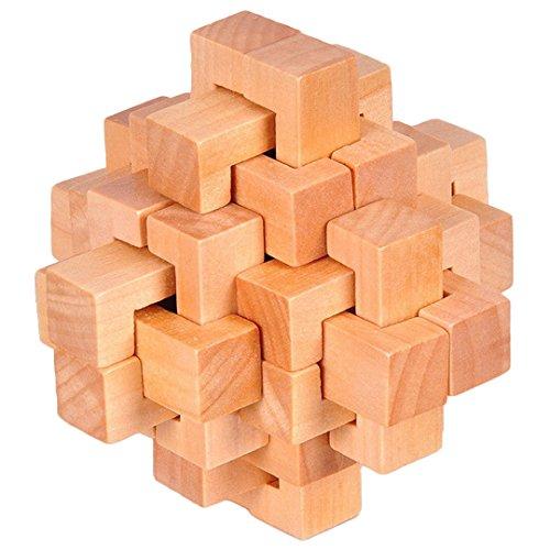 KINGOU Wooden 24 Unlock Interlocking Brain Teaser Puzzle Game Logic Burr Puzzles