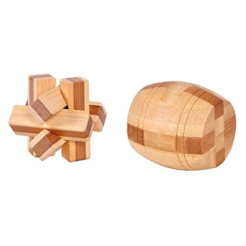 Xgunion 2pcs Bamboo Magic Cube Lock Logic Puzzle Burr Puzzles