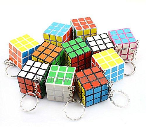 Coromose New Hot 10pcs Mini 3x3x3 Magic Cube Key Chain Puzzle Speed Toy Ornaments 10Pcs