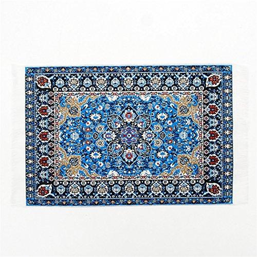 Odoria 112 Blue Floral Print Vintage Woven Carpet Rug Blanket Miniature Dollhouse