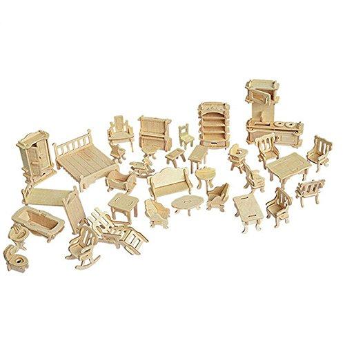 SEA-LAND 3-D Wooden Puzzle- Dollhouse Furniture Set