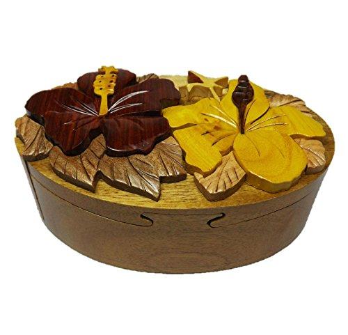 Coastal Wood HC010 Handmade Art Intarsia Big Wooden Puzzle Box - Oval Shape Hibiscus