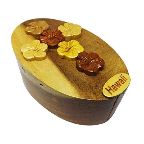 Coastal Wood HC223 Handmade Art Intarsia Big Wooden Puzzle Box - Flower Pansy Cross