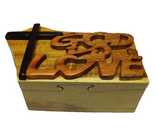 Coastal Wood HC227 Handmade Art Intarsia Big Wooden Puzzle Box - God Love