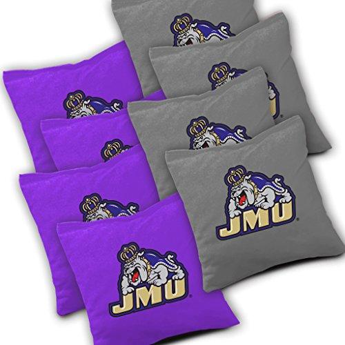 JAMES MADISON DUKES JMU Cornhole Bags SET of 8 Officially Licensed ACA REGULATION Baggo Bean Bags ~ Made in the USA