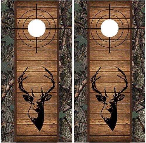 Buck Deer Camo Wood Cross Heirs LAMINATED Cornhole Board Decal Wrap Wraps