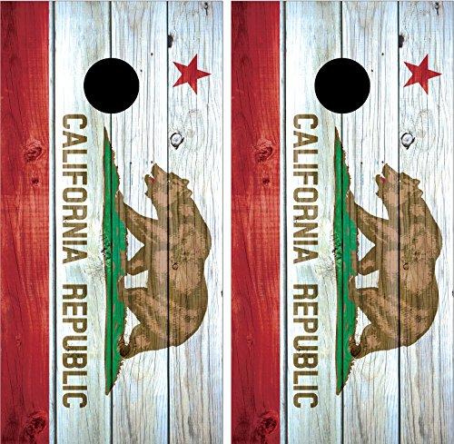 California State Flag Distressed Wood LAMINATED Cornhole Board Decal Wrap Wraps
