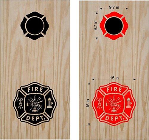 Fireman Firefighter Fire Station Cornhole Board Decals Stickers Bean Bag Toss