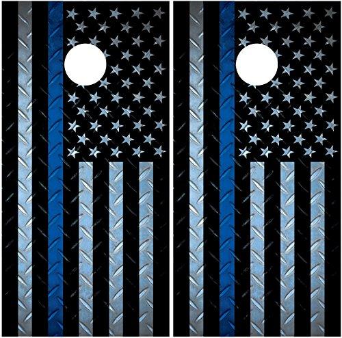 Police Thin Blue Line Diamond Plate LAMINATED Cornhole Board Decal Wrap Wraps