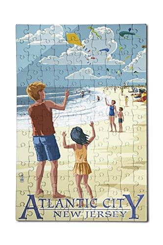 Atlantic City New Jersey - Kite Flyers 12x18 Premium Acrylic Puzzle 130 Pieces