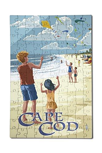 Cape Cod Massachusetts - Kite Flyers 12x18 Premium Acrylic Puzzle 130 Pieces
