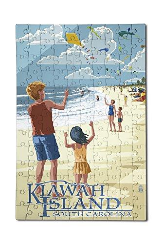 Kite Flyers - Kiawah Island South Carolina 12x18 Premium Acrylic Puzzle 130 Pieces