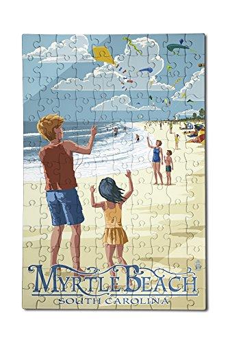 Kite Flyers - Myrtle Beach South Carolina 12x18 Premium Acrylic Puzzle 130 Pieces