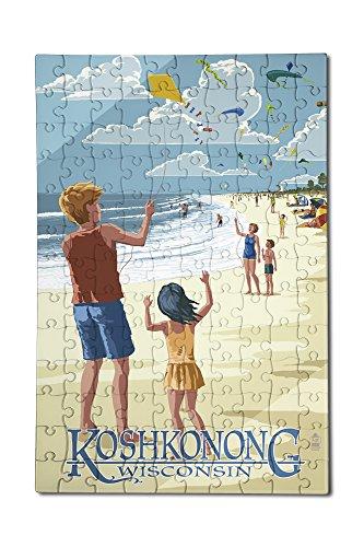 Lake Koshkonong Wisconsin - Kite Flyers 12x18 Premium Acrylic Puzzle 130 Pieces